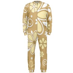 Flower Floral Star Sunflower Grey Onepiece Jumpsuit (men)  by Mariart
