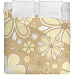 Flower Floral Star Sunflower Grey Duvet Cover Double Side (king Size) by Mariart