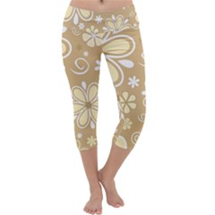 Flower Floral Star Sunflower Grey Capri Yoga Leggings by Mariart