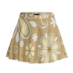 Flower Floral Star Sunflower Grey Mini Flare Skirt by Mariart