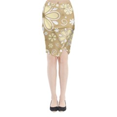 Flower Floral Star Sunflower Grey Midi Wrap Pencil Skirt by Mariart