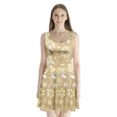 Flower Floral Star Sunflower Grey Split Back Mini Dress  by Mariart