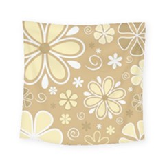 Flower Floral Star Sunflower Grey Square Tapestry (small) by Mariart
