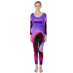 Digital Art Spirals Wave Waves Chevron Red Purple Blue Pink Long Sleeve Catsuit