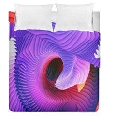 Digital Art Spirals Wave Waves Chevron Red Purple Blue Pink Duvet Cover Double Side (queen Size) by Mariart