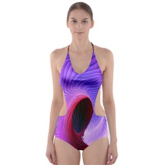 Digital Art Spirals Wave Waves Chevron Red Purple Blue Pink Cut Out One Piece Swimsuit by Mariart