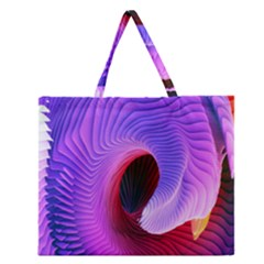 Digital Art Spirals Wave Waves Chevron Red Purple Blue Pink Zipper Large Tote Bag by Mariart