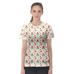 Flower Floral Sunflower Rose Star Red Green Women s Sport Mesh Tee by Mariart