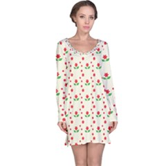 Flower Floral Sunflower Rose Star Red Green Long Sleeve Nightdress by Mariart