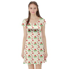 Flower Floral Sunflower Rose Star Red Green Short Sleeve Skater Dress by Mariart