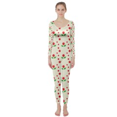 Flower Floral Sunflower Rose Star Red Green Long Sleeve Catsuit by Mariart