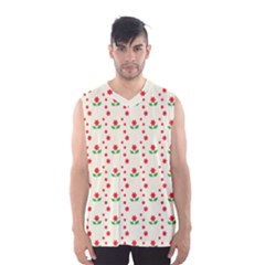 Flower Floral Sunflower Rose Star Red Green Men s Basketball Tank Top by Mariart