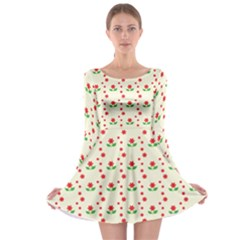 Flower Floral Sunflower Rose Star Red Green Long Sleeve Skater Dress by Mariart