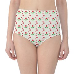 Flower Floral Sunflower Rose Star Red Green High Waist Bikini Bottoms by Mariart