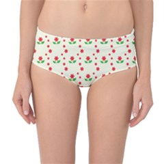Flower Floral Sunflower Rose Star Red Green Mid Waist Bikini Bottoms by Mariart