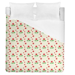 Flower Floral Sunflower Rose Star Red Green Duvet Cover (queen Size) by Mariart