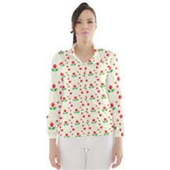 Flower Floral Sunflower Rose Star Red Green Wind Breaker (women) by Mariart