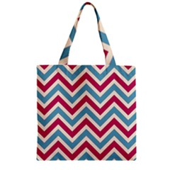 Zig Zags Pattern Zipper Grocery Tote Bag by Valentinaart