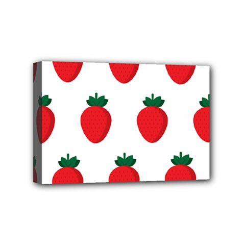 Fruit Strawberries Red Green Mini Canvas 6  X 4  by Mariart