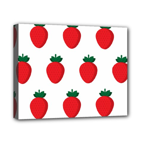 Fruit Strawberries Red Green Canvas 10  X 8  by Mariart