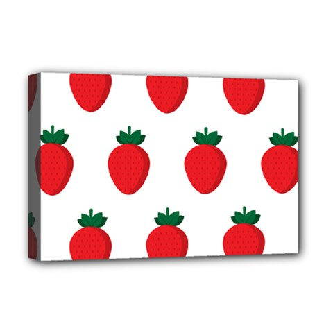 Fruit Strawberries Red Green Deluxe Canvas 18  X 12   by Mariart