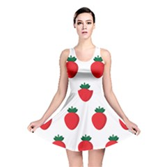 Fruit Strawberries Red Green Reversible Skater Dress by Mariart
