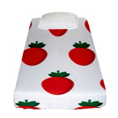 Fruit Strawberries Red Green Fitted Sheet (single Size) by Mariart