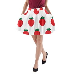Fruit Strawberries Red Green A Line Pocket Skirt by Mariart