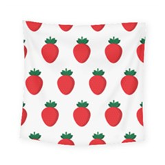Fruit Strawberries Red Green Square Tapestry (small) by Mariart