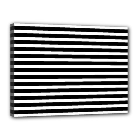 Horizontal Stripes Black Canvas 16  X 12  by Mariart