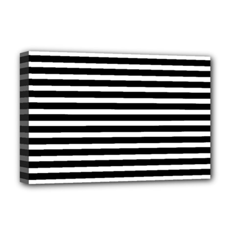 Horizontal Stripes Black Deluxe Canvas 18  X 12   by Mariart
