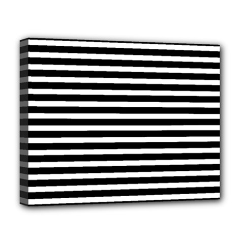 Horizontal Stripes Black Deluxe Canvas 20  X 16   by Mariart