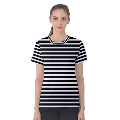 Horizontal Stripes Black Women s Cotton Tee by Mariart