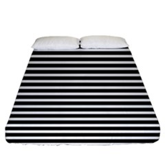 Horizontal Stripes Black Fitted Sheet (california King Size) by Mariart