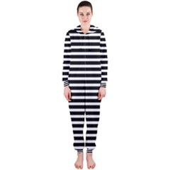 Horizontal Stripes Black Hooded Jumpsuit (ladies)  by Mariart