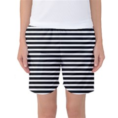 Horizontal Stripes Black Women s Basketball Shorts by Mariart