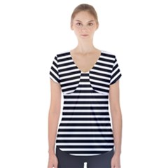 Horizontal Stripes Black Short Sleeve Front Detail Top by Mariart