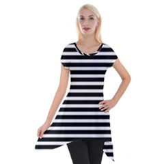 Horizontal Stripes Black Short Sleeve Side Drop Tunic by Mariart