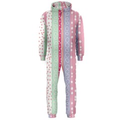 Heart Love Valentine Polka Dot Pink Blue Grey Purple Red Hooded Jumpsuit (men)  by Mariart