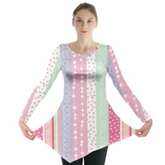Heart Love Valentine Polka Dot Pink Blue Grey Purple Red Long Sleeve Tunic