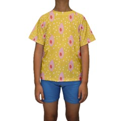 Flower Floral Tulip Leaf Pink Yellow Polka Sot Spot Kids  Short Sleeve Swimwear by Mariart