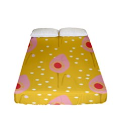 Flower Floral Tulip Leaf Pink Yellow Polka Sot Spot Fitted Sheet (full/ Double Size) by Mariart