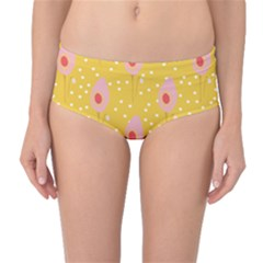 Flower Floral Tulip Leaf Pink Yellow Polka Sot Spot Mid-waist Bikini Bottoms by Mariart