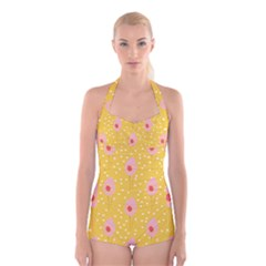 Flower Floral Tulip Leaf Pink Yellow Polka Sot Spot Boyleg Halter Swimsuit  by Mariart