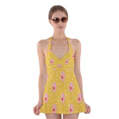 Flower Floral Tulip Leaf Pink Yellow Polka Sot Spot Halter Swimsuit Dress by Mariart