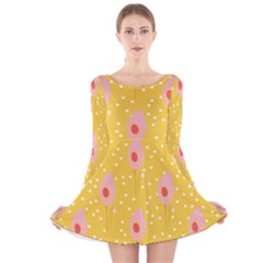 Flower Floral Tulip Leaf Pink Yellow Polka Sot Spot Long Sleeve Velvet Skater Dress by Mariart