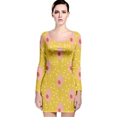 Flower Floral Tulip Leaf Pink Yellow Polka Sot Spot Long Sleeve Velvet Bodycon Dress by Mariart