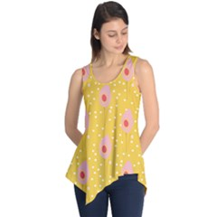 Flower Floral Tulip Leaf Pink Yellow Polka Sot Spot Sleeveless Tunic by Mariart