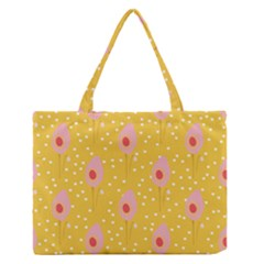 Flower Floral Tulip Leaf Pink Yellow Polka Sot Spot Medium Zipper Tote Bag by Mariart