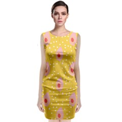 Flower Floral Tulip Leaf Pink Yellow Polka Sot Spot Sleeveless Velvet Midi Dress by Mariart